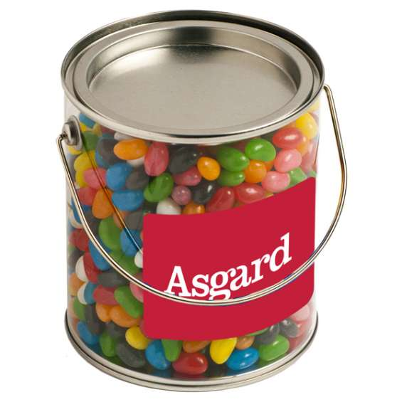 Personalised 900g jelly beans in a pvc bucket | custom jelly bags