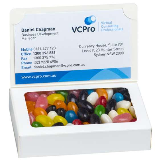 Printed bizcard boxed jelly beans with business details