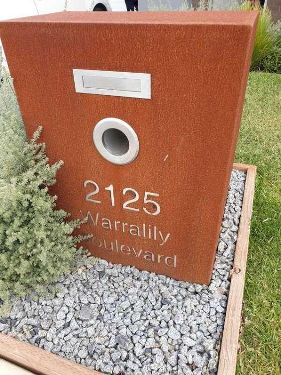 Corten letterbox in geelong