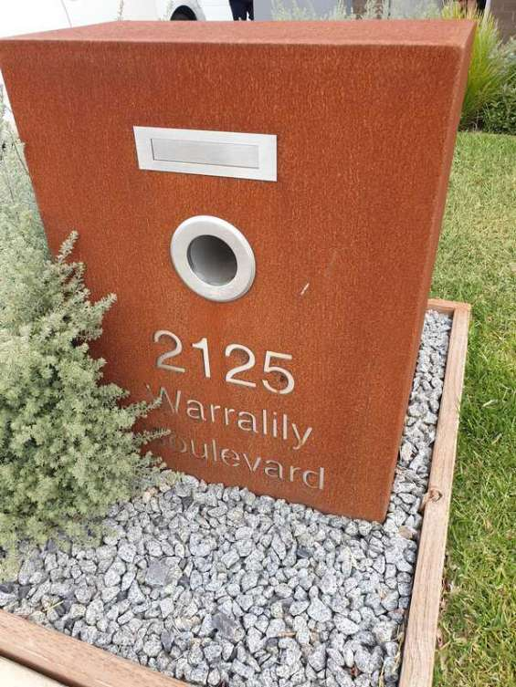 Corten letterbox in geelong