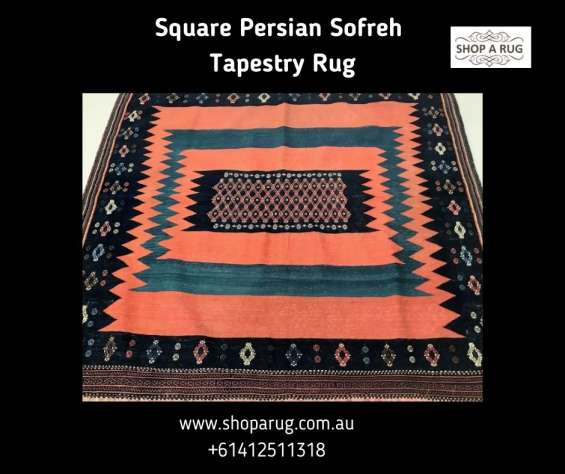 Square persian sofreh tapestry rug