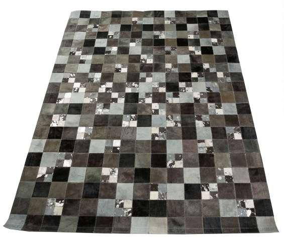 Grigio luxe patchwork cow hide rug