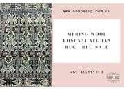 Merino wool roshnai afghan rug   rug sale