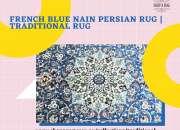 French Blue Nain Persian Rug   Traditional Rug