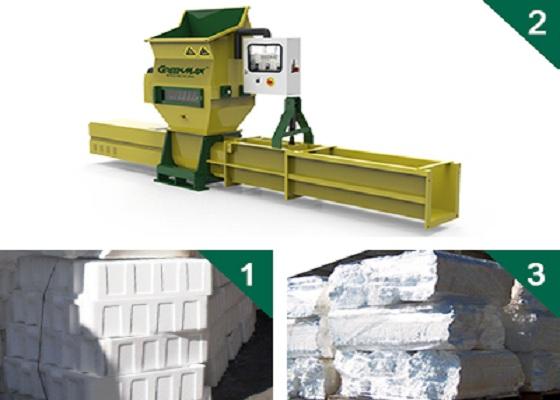 Professional greenmax styrofoam compactor