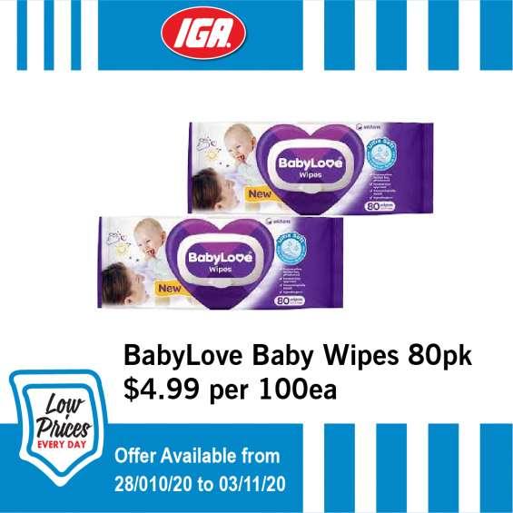 Babylove baby wipes - grocery item, iga ravenswood