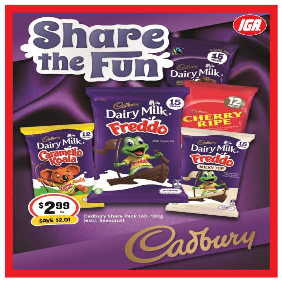 Cadury share pack - grocery item, iga ravenswood