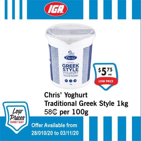 Chris' yoghurt traditional greek style - grocery item, iga ravenswood