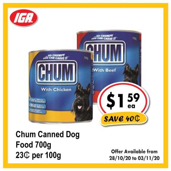 Chum canned dog food - grocery item, iga ravenswood