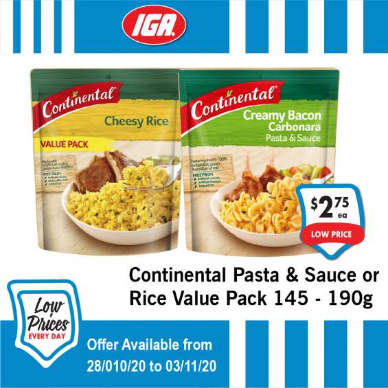Continental pasta & sauce or rice value pack - grocery item, iga ravenswood