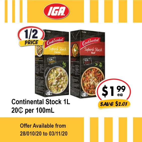 Continental stock - grocery item, iga ravenswood