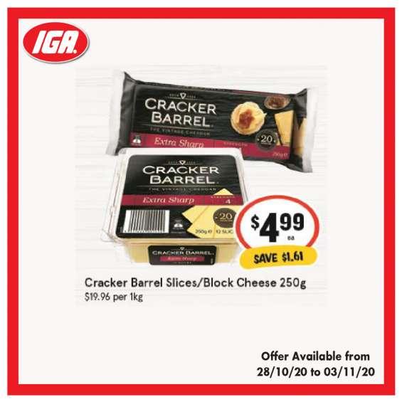 Cracker barrel slices/block cheese - grocery item, iga ravenswood
