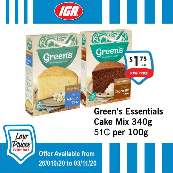 Geen's essentials cake - grocery item, iga ravenswood