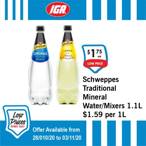 Schweppes traditional mineral water/mixers - grocery item, iga ravenswood