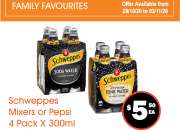 Schweppes Mixers or Pepsi - Weekly Sale - FoodWorks Clovelly