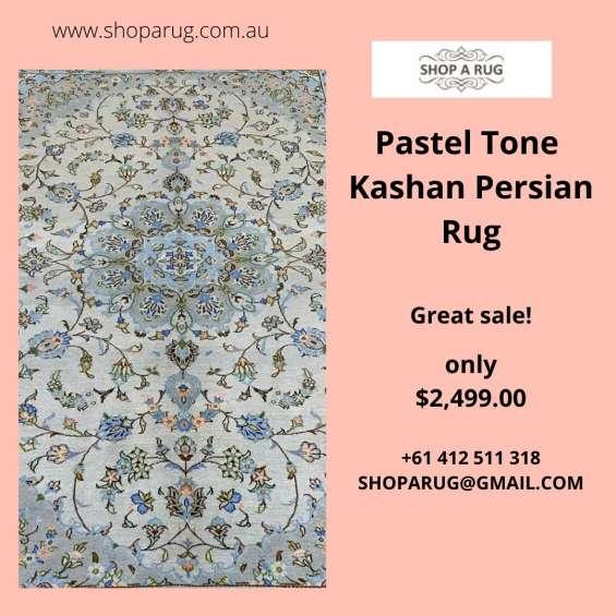 Pastel tone kashan persian rug 300x200cm on sale | shoparug