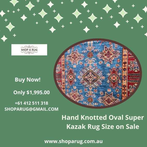 Hand knotted oval super kazak rug size on sale | shoparug