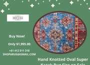Hand Knotted Oval Super Kazak Rug Size on Sale | Shoparug