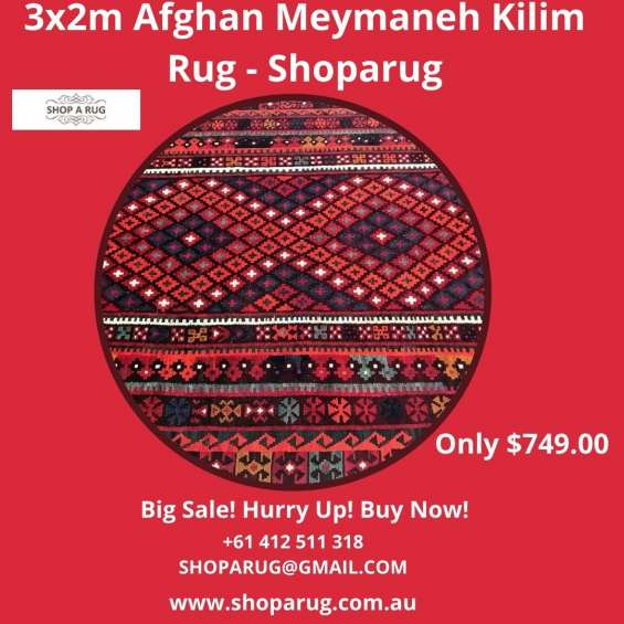 Buy best collection of luxurious 3x2m afghan meymaneh kilim rug at shoparug