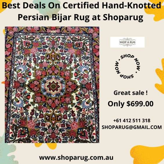 Best deals on certified hand knotted persian bijar rug at shoparug