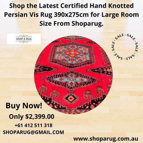 Shop the latest certified hand knotted persian vis rug 390x275cm for large room size from