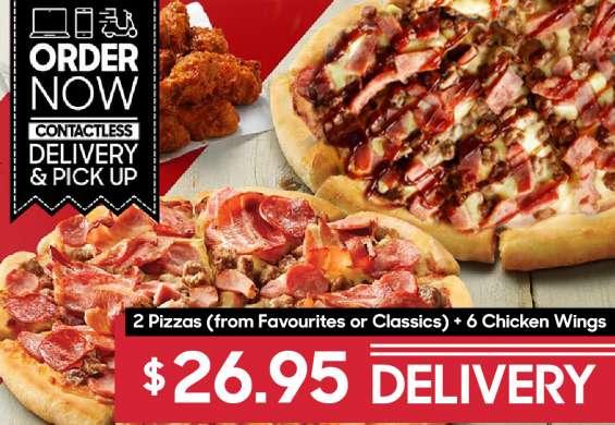 2 pizzas + 6 chicken wings at pizza hut moorebank