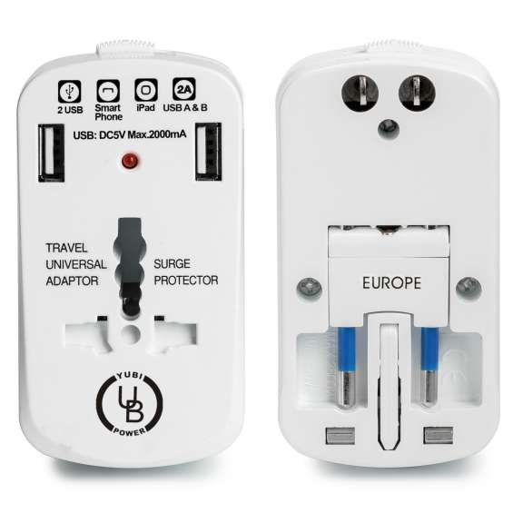 Yubi power all in one travel adapter with universal outlet and 2 usb 2.0 ports