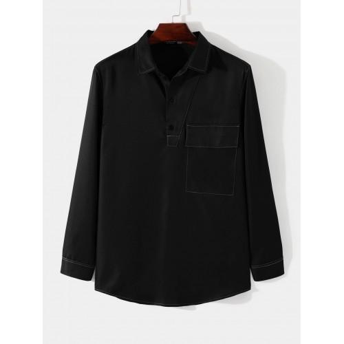 Casual autumn plain button front pocket shirt