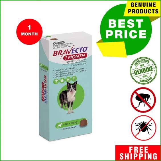 Bravecto 1 month chews flea & tick control for 10-20 kg dogs